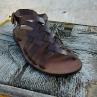Sandali ARTIGIANALI Salentini da uomo in PELLE ITALIANA intrecciata color Cuoio