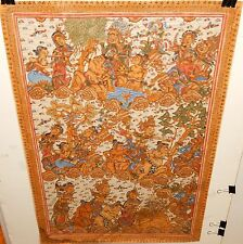 OLD INDIA PEOPLE AND ANIMAL SCENE ACRYLIC CLOTH PAINTING UNSIGNED