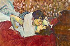 Henri de Toulouse Lautrec The Kiss Lesbian Theme Classic Wall Art  Canvas