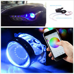 Bluetooth Wireless Control 15SMD RGB LED Demon Eye Halo Ring Headlight Projector