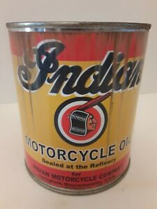 Rusty Indian Motorcycle Oil Can 1 qt - (Reproduction Tin Collectible)