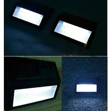 2x Solar Powered Wall Mount 6 LED Light Outdoor Garden Path Step Stair Yard Lamp