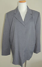 WOMENS EXECUTIVE COLLECTION GRAY POLY BLEND 3 BUTTON BLAZER SIZE 20W