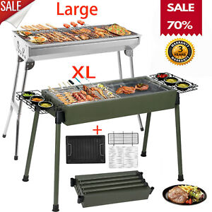 Large Stainless Steel Barbecue Grill Charcoal Outdoor Patio Garden Picnic Tools
