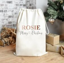 Personalised Father Christmas Eve Present Sack Santa Bag Stocking Gift Tree