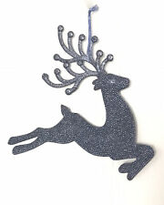 Stunning Christmas Hanging Decoration Large Blue Reindeer Sparkly Crystal