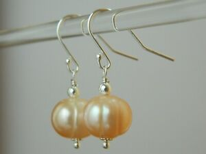Large Natural Pink Banded Baroque Freshwater Pearls & Sterling Silver Earrings