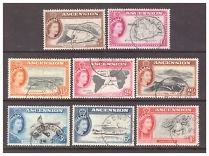 Ascension QEII 1956 Pictorial Definitive set x 8 values to 1/- used
