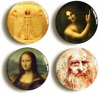 4 x LEONARDO DA VINCI BADGES BUTTONS PINS (1inch/25mm diameter) ART MONA LISA