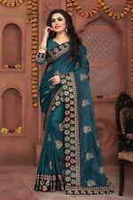 Designer Teal Blue Embroidery Sari Silk Party Wear Saree with Designer Jewellery
