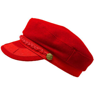 Men's Greek Fisherman Sailor Fiddler Winter Wool Driver Hat Flat Cap Red S/M