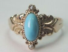 Antique Victorian Persian Turquoise Ring 9K Yellow Gold Ring Size 7 UK-N1/2 Fine
