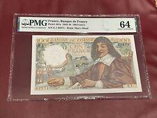 FRANCE FRENCH 100 FRANC 1942 PMG 64 UNC DESCARTES PICK 101a RARE