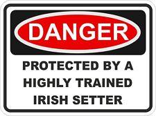 SETTER IRLANDAIS RACE Danger autocollant animal pour pare-choc verrou