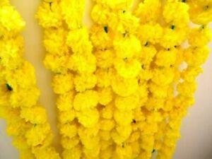 10 PC Pack Of Artificial Marigold Flower Garlands Party Wedding Decoration Vine