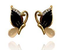 Gold Black White Opal Imitation Luxury Butterflies Women Stud Earrings E1415