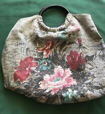Designer Glenda Gies Vintage Fabric Purse Shabby Cottage Garden Barkcloth
