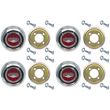 New Magnum 500 Wheel Center Caps Ford Crest Galaxie Fairlane Falcon Torino Red