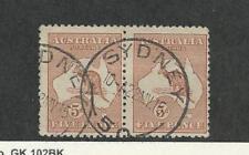 Australia, Postage Stamp, #7 Pair Used, 1913 Kangaroo, Sydney Cancel