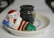 Cute Christmas Mouse In Stocking Taper Stick Candle Holder Avon 1983 Decoration
