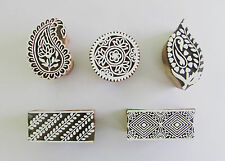 5PCS  WOODEN BLOCK STAMPS HAND CARVED  PRINTING BLOCK WOODEN CRAFT HENNA BLOCK