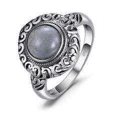 JewelryPalace Retro 1.81ct Genuine Labradorite Carved Ring 925 Sterling Silver