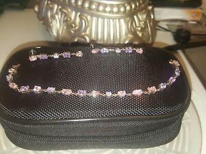 Solid Silver Multi Gem Earrings And Bracelet Set