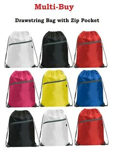Multi-Buy Waterproof Zipper Drawstring Bags Sports Gym Sack Swim PE Kit Shoe Bag