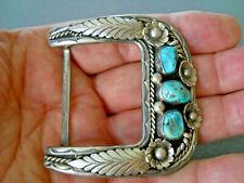 """FELIX JOE Native American Turquoise Sterling Silver Buckle 1 1/2"""" Belt 43 gr."""