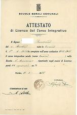 FM372_Scuole serali comunali.ATTESTATO di LICENZA dal CORSO INTEGRATIVO 1927-28