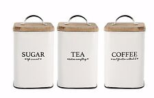 SET OF 3 SUGAR TEA COFFEE CANISTER SET RETRO WOODEN GIFT LID STORAGE WHITE TIN