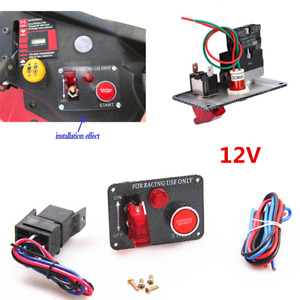 Car 12V Ignition LED Illuminate On /Off Panel Engine Toggle Start Push Button
