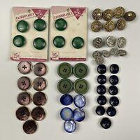 Vintage Lot of Buttons Sets Bug Green Blue Purple Vtg Set
