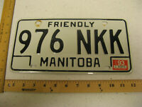 1993 93 MANITOBA CANADA LICENSE PLATE #976 NKK NATURAL STICKER
