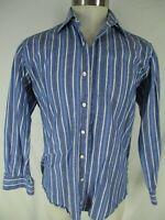 Hickey Freeman Mens Blue Stripe Long Sleeve Cotton Linen Shirt M Current Italy