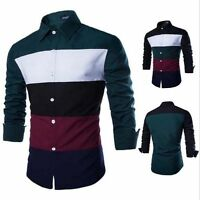 Fashion Mens Shirts Tops New Luxury Long Sleeve Casual Slim Fit Stylish Dress
