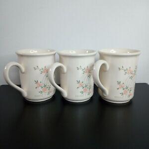 3 x Biltons Staffordshire Trellis Rose Vintage Mugs 10 cm tall