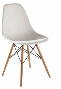 Vitra Stuhl DSW, Schale weiß, Ahorn gelblich, Filzgleiter Dark, Neue Sitzhöhe