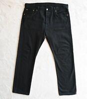 Mens LEVIS 501 Jeans Black Straight Leg Classic Fit Denim Size Waist 38 Leg 34