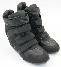 Nature Breeze Womens Ladies Black Velcro Sneaker Boot Heel Size 9
