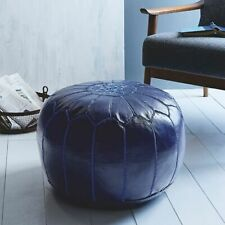 SALE! Moroccan Genuine Leather Boho Pouf Ottoman Footstool Pouffe blue color