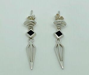 Gorgeous Vintage Sterling Silver Black Onyx Art Deco Style Drop Earrings