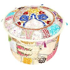 """Indian Round Pouf Cover Patchwork Bohemian Ottoman Lounge Embroidered 22"""" White"""