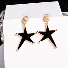 Korean black five pointed star studs, new temperament female Earrings A246
