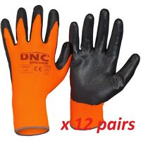 12x Nitrile coated Protective work gloves polyester liner comfort dexterity GN01