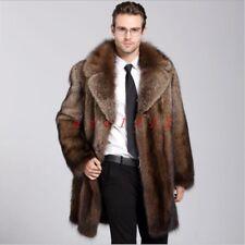 Occident Men Fuax Fur Warm Winter Coat Jacket Outdoor Long Lapel Collar Fashion
