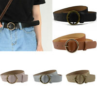 Fashion Women Simple Round Buckle Casual PU Leather Retro Vintage Belt Waistband