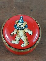 Halcyon Days Enamel Bear Party Hat Red Mini Pill Trinket Box  Screw Top Rare