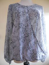 Vince Camuto Grey Chiffon Draped Faux-Wrap Lined Blouse Top Size S EUC