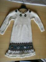 vestito bambina bimba panna lana alpaca ricamato taglia 6/7 anni ottimo bello